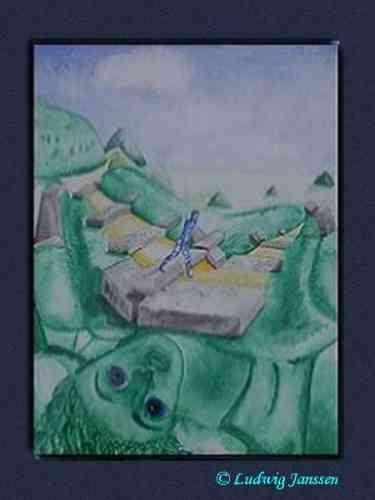 Ludwig Janssen: Bin ich der Weg / Aquarell (gemaltes Gedicht)