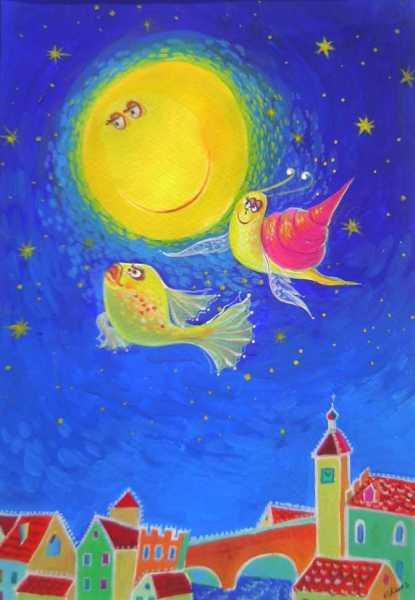 Karpfen, Mond und Zirkelschneck - Illustration eines Ludwig-Janssen-Gedichtes by Valentina Kunz